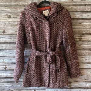 Mossimo Supply Wool Blend Hooded Belted Coat
